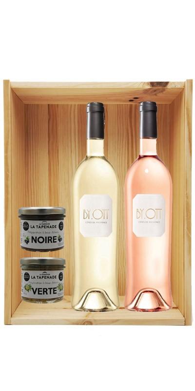 Coffret cadeau bois vin Provence By Ott Personnalisé + Kit gourmand