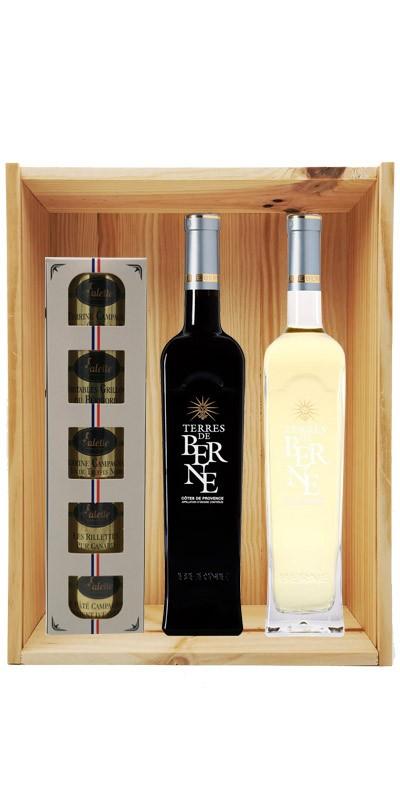 Coffret cadeau bois vin Provence Terres de Berne Personnalisé +Ecrin Sarladais