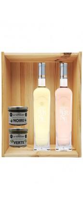Coffret cadeau bois vin Provence Terres de Berne Personnalisé + 2 tapenades
