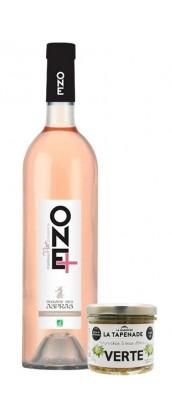 Kit apéro : 1 Tapenade Verte + 1 bouteille de vin rosé One+
