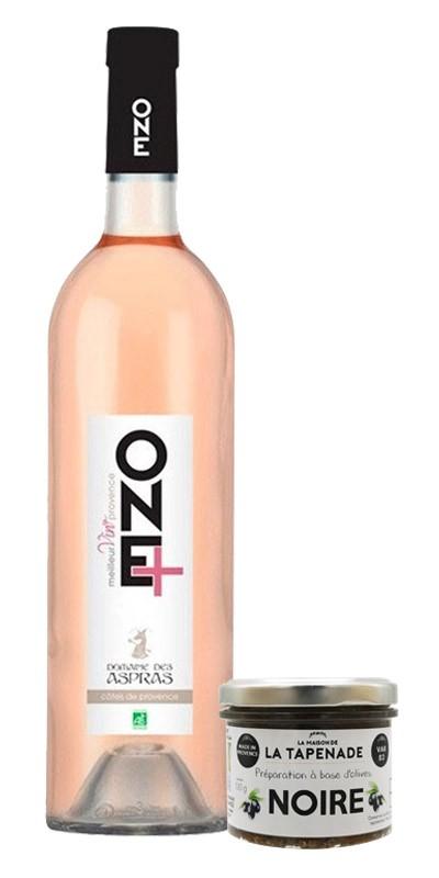 Kit apéro : 1 Tapenade Noire + 1 bouteille de vin rosé One+